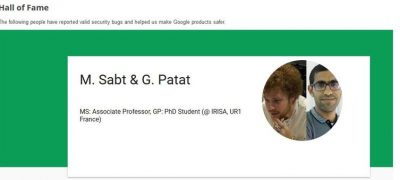 A teacher and doctoral student from the Université de Rennes 1 in the Google Hall of Fame